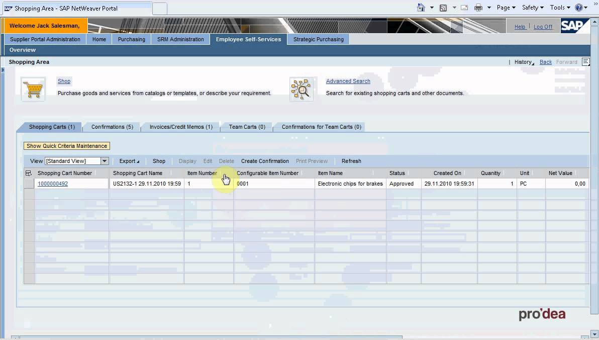 Srm 7 0 Creating Purchase Order From Shopping Cart Youtube