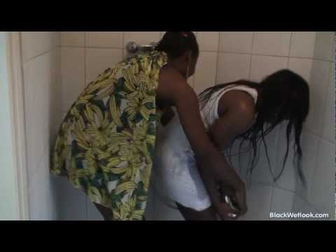 Anastasia and Michelle play with the shower