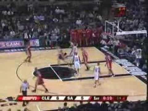 LeBron James Dunks on Tim Duncan