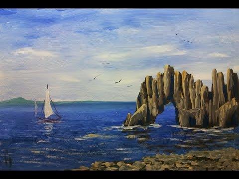 Видео как нарисовать море гуашью поэтапно