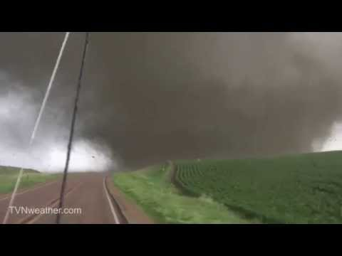 EXTREME video of Dominator 3 intercepting massive violent wedge tornado!  June 17, 2014