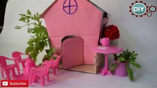 #MINIATURE #CRAFT Miniature doll house BY USING CARDBOARD  FOR KIDS