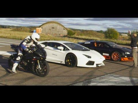 Ultra HD 4K Drag RACE Bugatti Veyron Vitesse vs Lambo Aventador vs BMW S1000RR- presented by Samsung