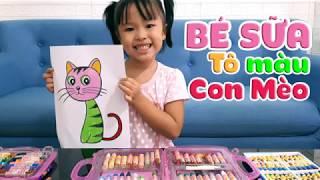 Bé Sữa tô màu con mèo dễ thương    Coloring a Cat