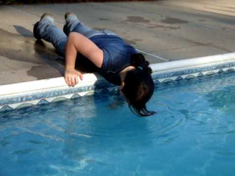 me (kind of) falling in the pool