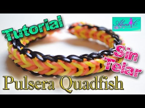 ♥ Tutorial: Pulsera QuadFish de gomitas (sin telar) ♥