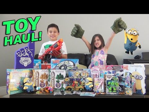 Super Toy Haul! Toy Fair Surprise Box From Ourselves! Minions, Avengers, My Little Pony, Nerf! video