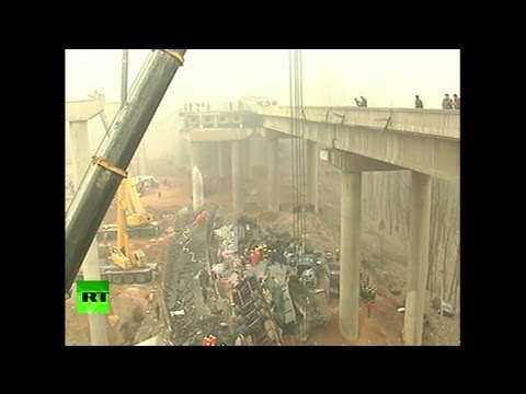 Video: China highway collapses as fireworks truck explodes on bridge
