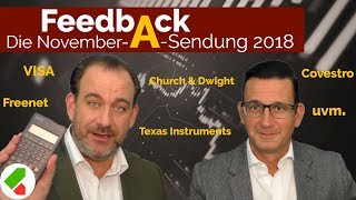 Covestro, Freenet, VISA uvm. | Feedback A November 2018 | echtgeld.tv (02.11.2018)