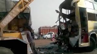 10 killed  20 injured after bus truck collision in MP's Guna