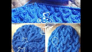 KNITTING OF THE CAP WITH BRAIDS SPOKES