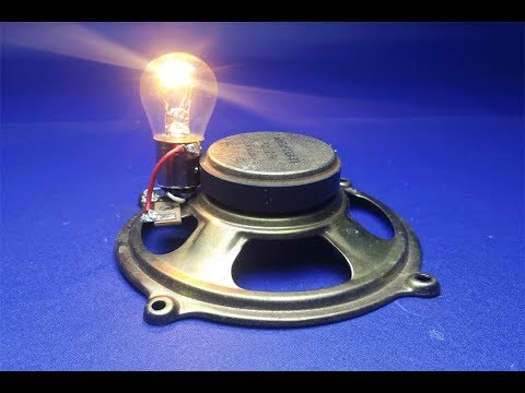 Free Energy speaker magnets with Light Bulbs 12v, at home thumbnail