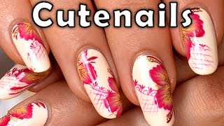 Floral vintage One stroke Nail art