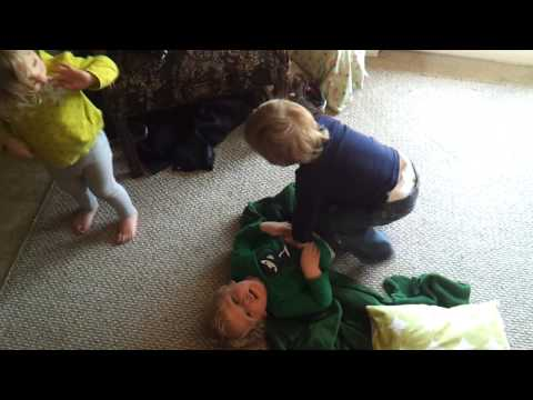Triplet Toddlers Wrestling (2 boys & a girl)