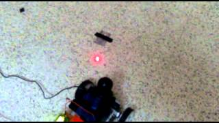 laser guided mine detecting robot in action