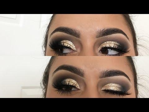 gold glitter smokey eye   jaclyn hill x morphe palette   tutorial