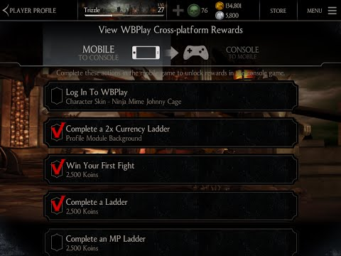 Mortal Kombat X Mobile Login to WBPlay Challenge Not activating