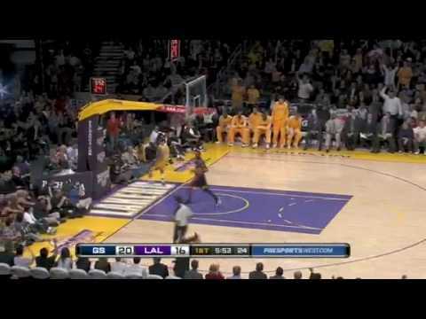 Shannon Brown one hand power dunk in fastbreak vs Golden State Warriors