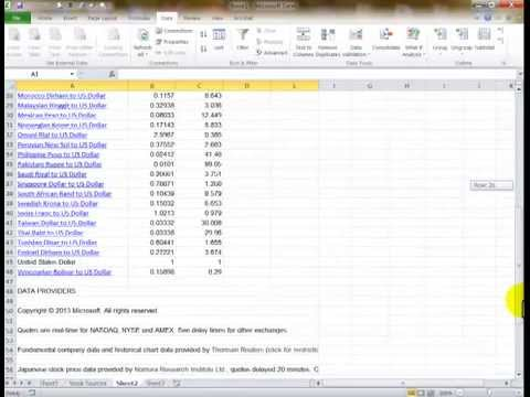 Obtain current stock prices in an Excel Spreadsheet