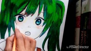 Simple Anime girl speed drawing pencil color