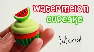 polymer clay watermelon cupcake TUTORIAL + GIVEAWAY (closed) ! | cupcakes project part 3