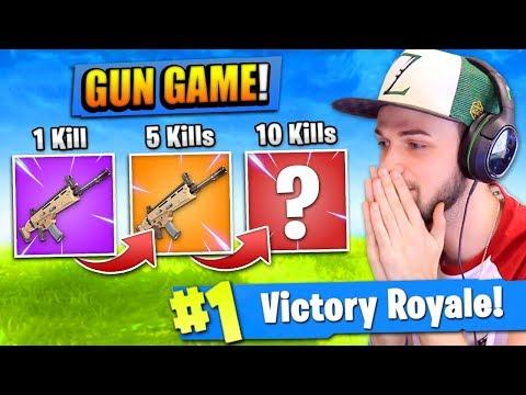 "The ""GUN GAME"" CHALLENGE in Fortnite: Battle Royale!"
