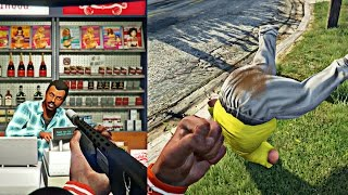 GTA 5 Online - FAT GUY SH!TS HIS PANTS AFTER GETTING KNOCKED OUT! CRAZY STORE ROBBERY GONE WRONG!