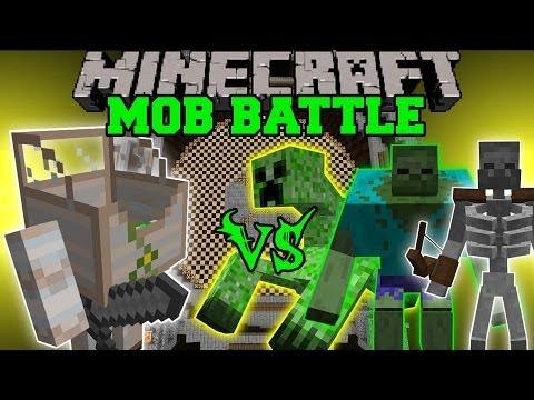 MECHA GOLEM VS MUTANT ZOMBIE MUTANT CREEPER MUTANT SKELETON Minecraft Mob Battles Mods