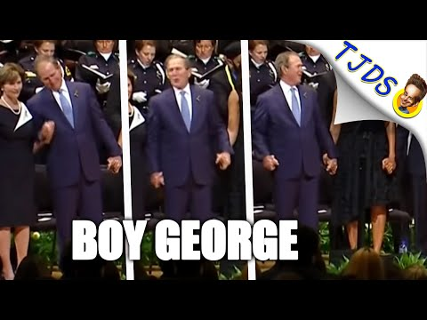 George W Bush Clowns Around During Dallas Police Memorial
