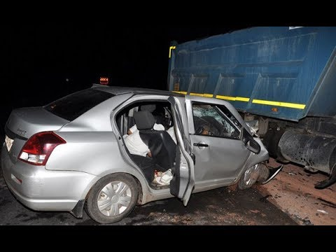 Speeding truck rams into car at secunderabad flyover