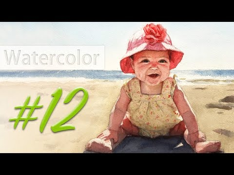 Portrait of a baby girl - watercolor painting step by step #12