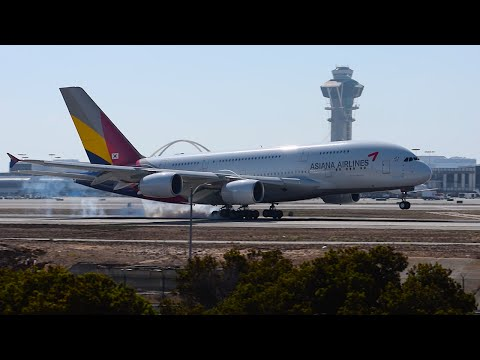Asiana Airlines Airbus A380-800 [HL7625] Landing at LAX.