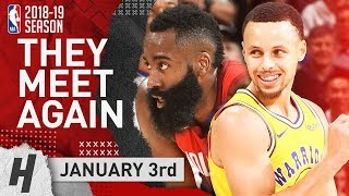 James Harden DESTROYS Golden State & Stephen Curry 2019.01.03 | EPIC Duel Highlights