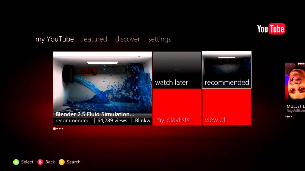 xbox 360 youtube app   youtube