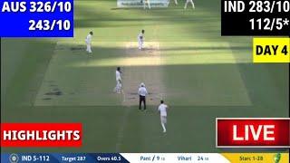 Highlights,India vs Australia Live Score, 2nd Test Day 4: India 112/5 at stumps : ind vs aus