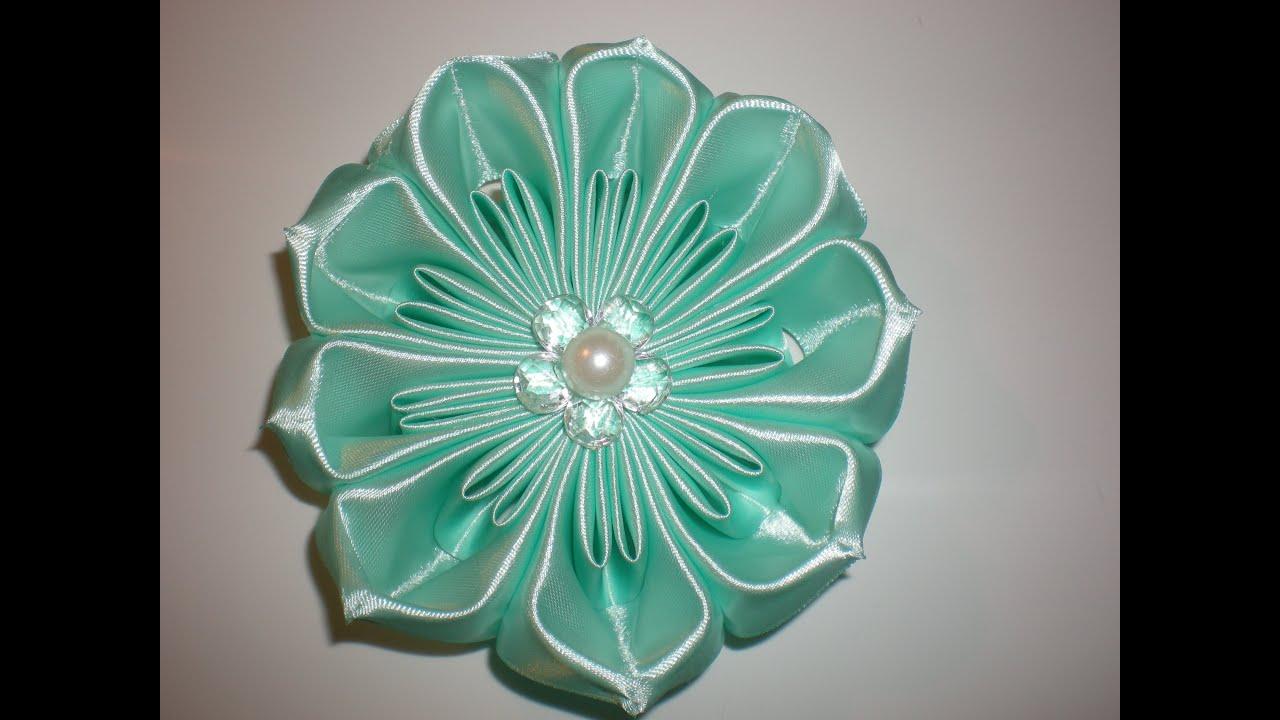 Новое цветы из лент своими руками мастер класс