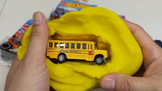 Toy Cars for Kids, School Bus in Play Doh #cars #toys New Hot Wheels Kids Surprise Video
