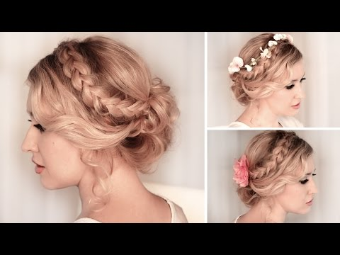 Braided updo hairstyle for medium/long hair tutorial ❤ Wedding. prom