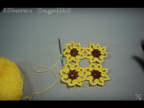 GIRASOL PARA APLICACION ((TUTORIAL GANCHILLO)).