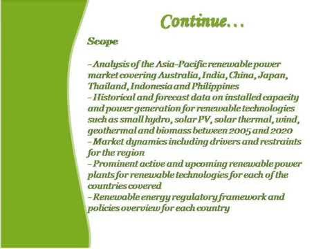 Bharat Book Presents: Renewable Energy Market in Asia-Pacific to 2020
