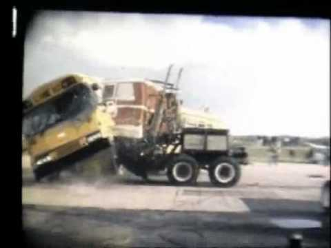 Blue Bird Bus >> 1995 Blue Bird School Bus Vs. Peterbuilt Cabover 45 Mp/h Side Impact - YouTube
