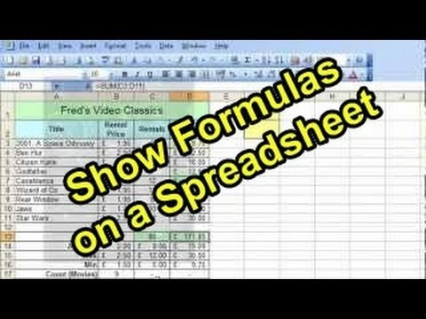 Microsoft Excel Tutorial for Beginners #30 - Show Formulas on a Spreadsheet