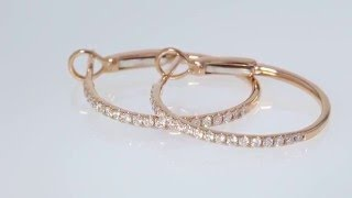 3/8CT Round Brilliant Diamond Hoop Earrings 14kt Rose Gold $795