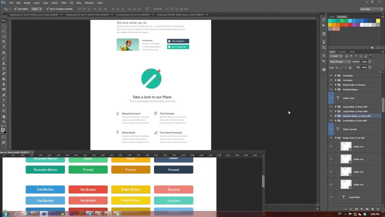 How To Create A Website In Flat Design Style Video