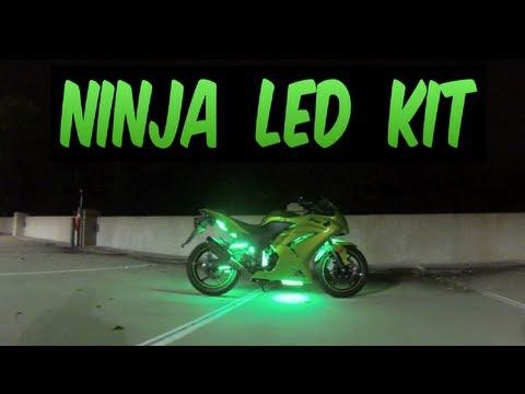 LEDGlow Lights 2012 Ninja 250r advanced million color motorcycle led lighting kit
