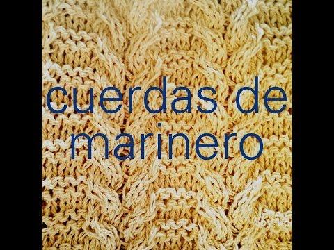 Cómo tejer cuerdas, trenzas, cables, ochos a dos agujas: Punto Cuerdas de Marin