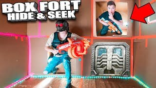 BOX FORT NERF HIDE AND SEEK CHALLENGE 📦In The Worlds Biggest Box Fort!!