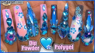 Amazon.com Dip Powder amp Polygel ModelOnes Kit Tutorial! Blue Flower Bling Long Coffin Nails