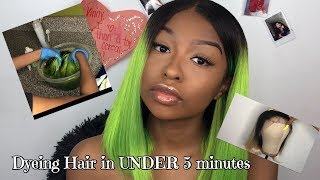 Neon Green Hair in UNDER 5 Minutes! | How To Watercolor Dye Hair | Ft. LWigs | Lovevinni_