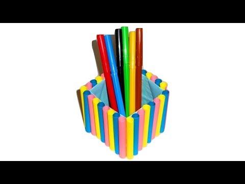 Подставки для карандашей из бумаги сделанная своими руками